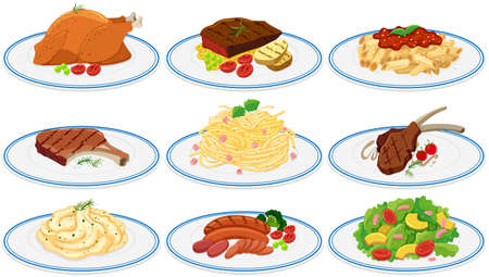 plates of food: Different types of food on the plates illustration Illustration