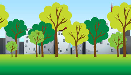 Scene with trees and buildings illustration