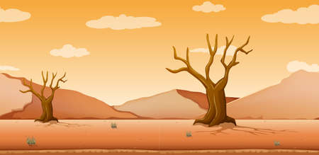 Scene with dried trees in desert field illustration