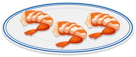 shrimp cocktail: Boiled shrimps on the plate illustration