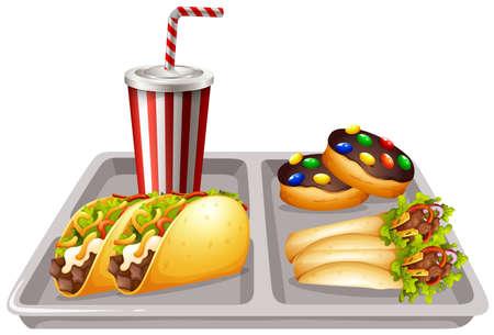 softdrink: Tray of food and drink illustration Illustration