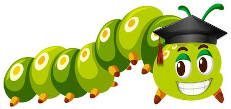 gusano: Green caterpillar wearing graduation cap illustration