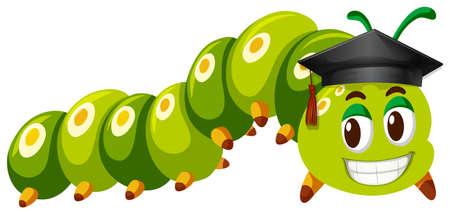 Green caterpillar wearing graduation cap illustration