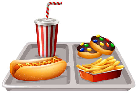 softdrink: Fastfood and soft drink on tray illustration
