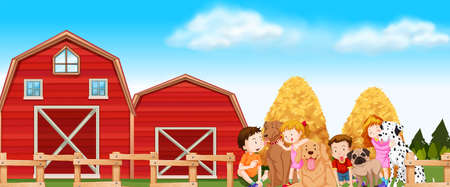 Children and dogs in the farm illustration Illustration