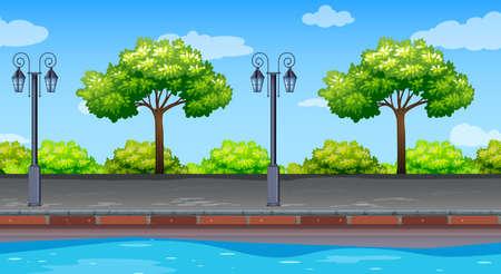 도 그림을 따라 나무와 원활한 배경