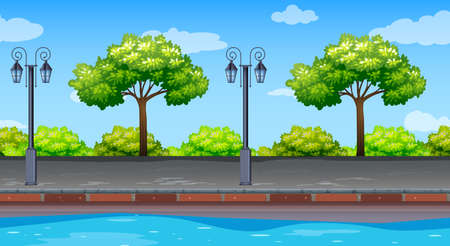 Seamless background with trees along the road illustration Ilustracja