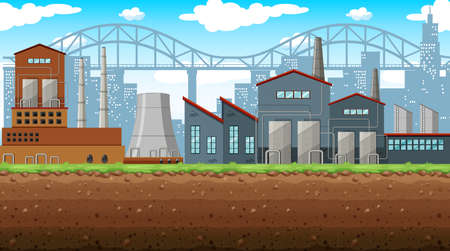 business scene: Factory on the field illustration