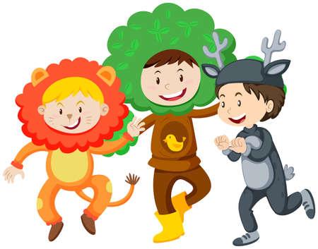 Three kids in costumes illustration