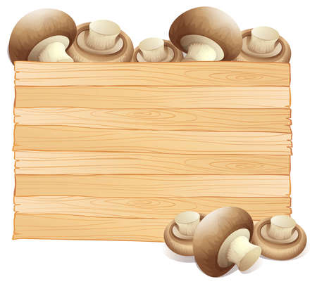 Board template with fresh mushroom illustration