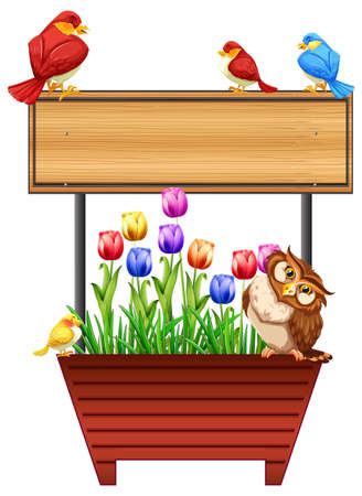 Wooden sign with birds and flowers illustration