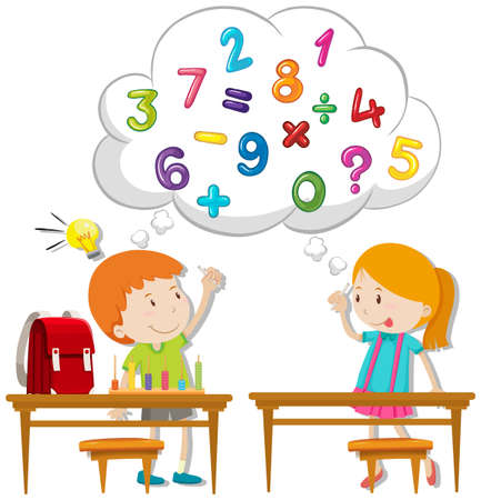 table: Two kids calculating in classroom illustration