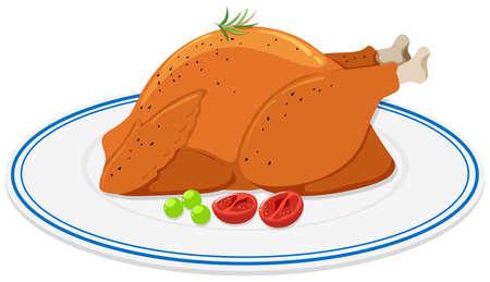 Roast chicken on round plate illustration