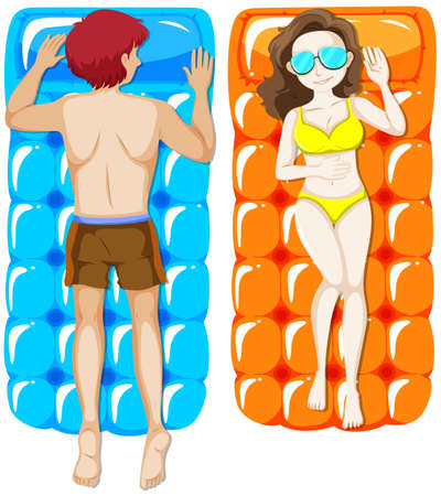Man and woman on floating raft illustration