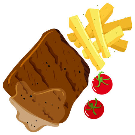 steak beef: Beef steak and frenchfries illustration