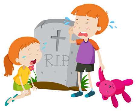 died: Two kids crying at gravestone illustration