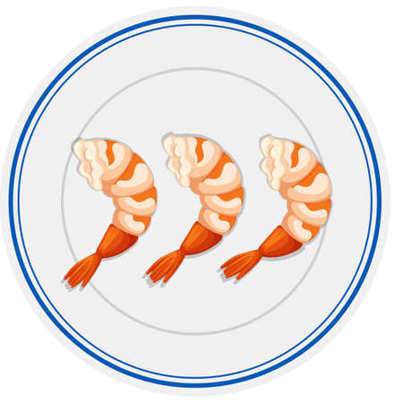 Three pieces of shrimps on round plate illustration