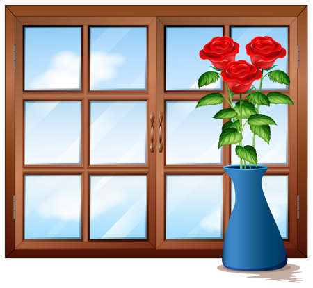Window with roses in vase illustration Illustration