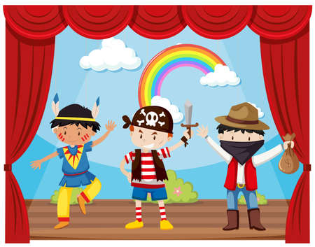 indian teenager: Boys in costumes on stage illustration