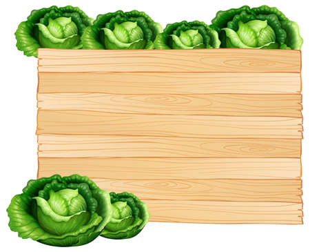Wooden board and cabbages illustration