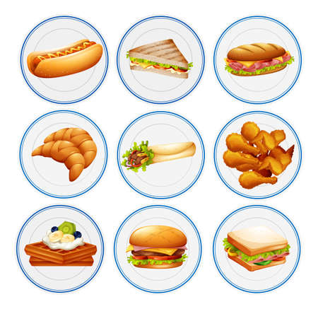 plates of food: Different types of food on plates illustration