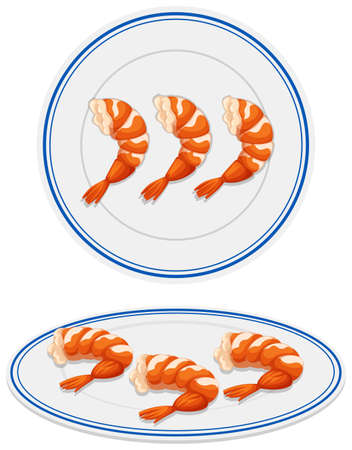 Shrimps on white plate illustration