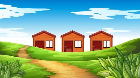 Three houses on the field illustration Illustration