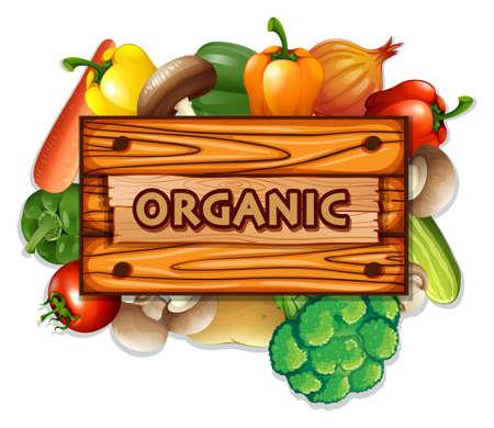 Organic vegetables and board illustration