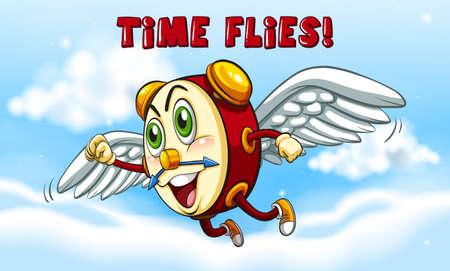 Clock flying in in sky illustration