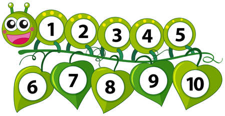 Counting number with green caterpillar illustration