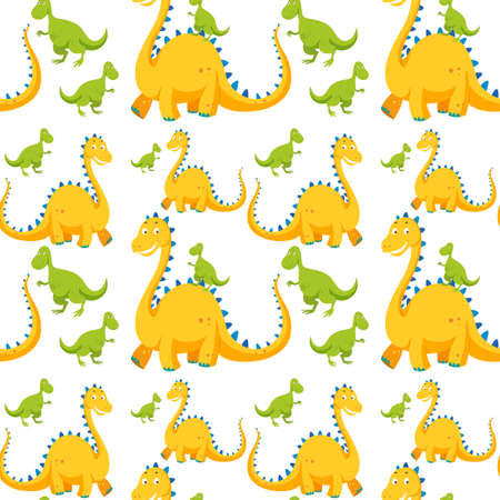 Seamless background with yellow and green dinosaurs illustration Stock Vector - 74310760