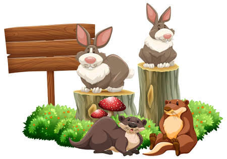 beavers: Rabbits and beavers by the sign illustration