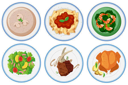 food: Different types of food on the dish illustration Illustration
