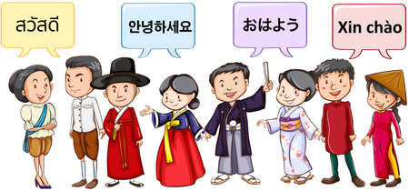 personas saludandose: Asian people greeting in different languages illustration Vectores