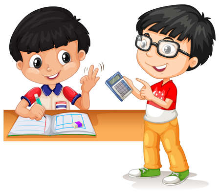 Asian boys calculating with calculator illustration