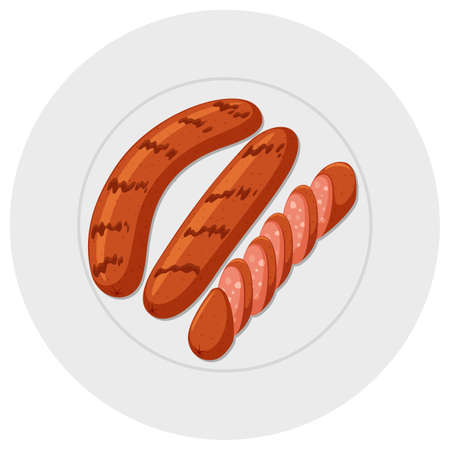 Grilled sausages on round plate illustration