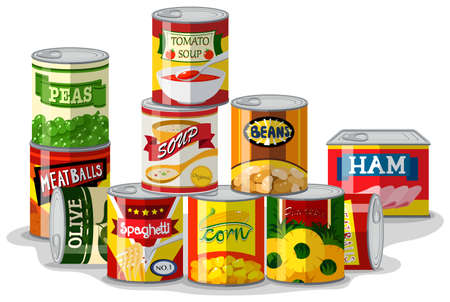 Different types of canned food illustration