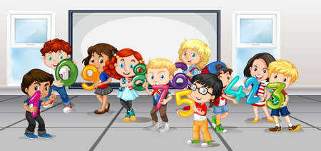 1 person: Children counting numbers in room illustration