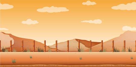dirt: Scene with desert and hills illustration
