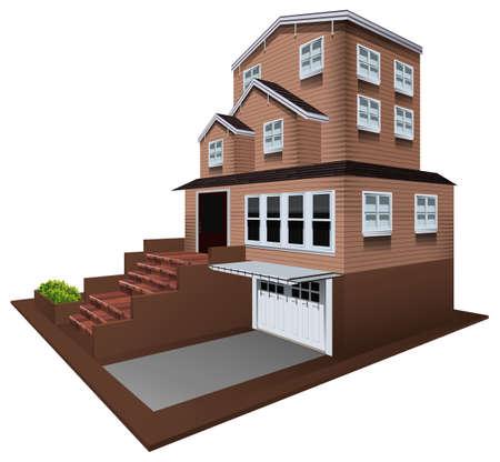 3D design for house with garage illustration