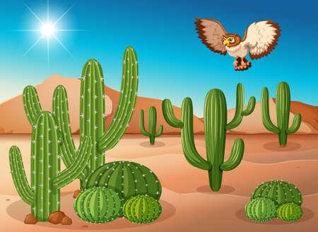 Owl flying over cactus in desert illustration