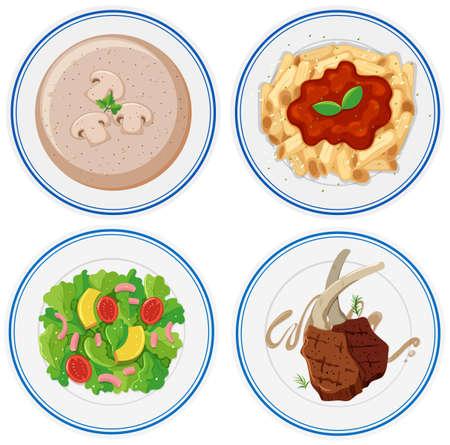 steak plate: Four plates of different food illustration Illustration