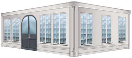art museum: 3D design for building with glass windows illustration Illustration