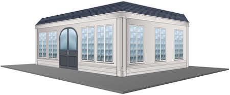 design elements: 3D design for building with gray roof illustration Illustration