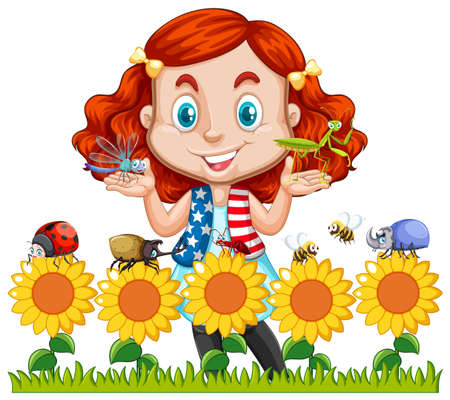 Little girl and insects in sunflower garden illustration