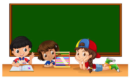 studying classroom: Three students studying in classroom illustration