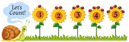 ladybird: Counting numbers on sunflowers illustration
