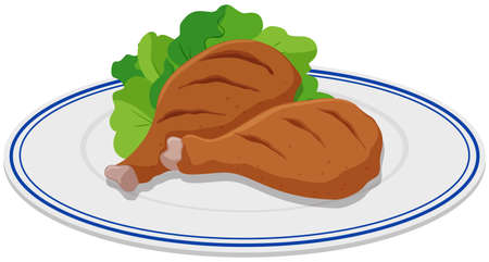Two chicken sticks on plate illustration