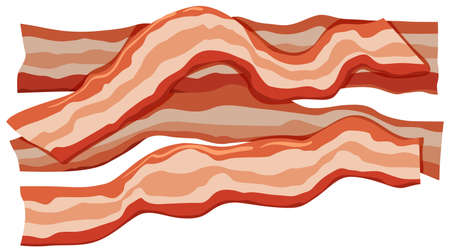Four slices of bacons illustration