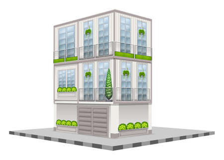 exterior element: Three storey building in 3D design illustration Illustration